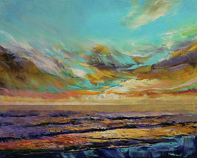 Modern Oil Painting - Tahiti Sunset by Michael Creese