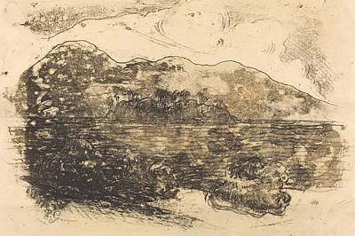 Pencil Shading Drawing - Tahitian Shore - Recto by Paul Gauguin