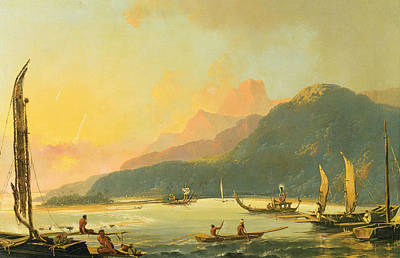 Tahitian War Galleys In Matavai Bay - Tahiti Art Print by William Hodges