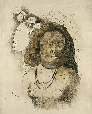 Native Women Drawing - Tahitian Woman With Evil Spirit by Paul Gauguin