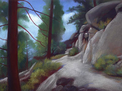 Drawing - Tahoe Flume Trail by Linda Ruiz-Lozito