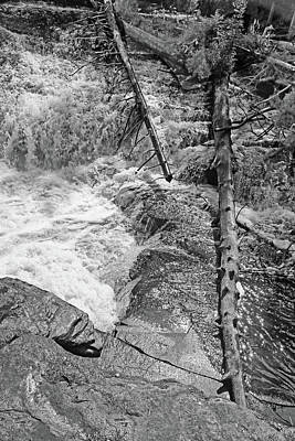 Photograph - Tahquamenon Lower Falls 7 Bw by Mary Bedy