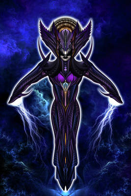 Warrior Goddess Digital Art - Taidushan Empress Chinsisha Warrior Goddess Fractal Portrait by Xzendor7