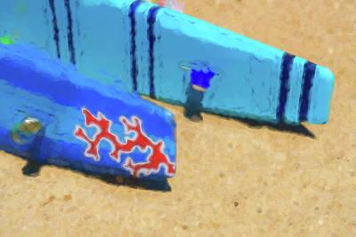 Digital Art - Tail Fins Sea Kayak Watercolor by Scott Campbell