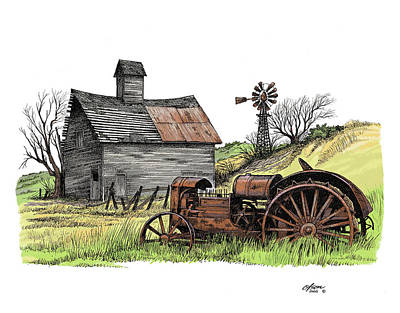 Pen And Ink Of Barn Drawing - Tailend Of Hard Tmes by Dave Olson