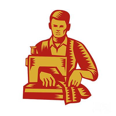 Printmaking Digital Art - Tailor Sewing Machine Woodcut by Aloysius Patrimonio