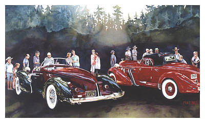 Auburn Speedster Painting - Tails Of Two Pretties by Mike Hill