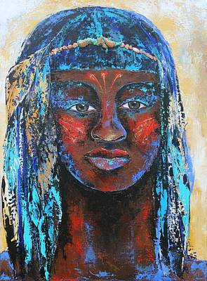 Indian Tribal Art Painting - Taino Warrior by Janice Aponte