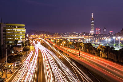 Taipei Light Trails At Night Art Print