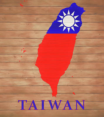 Mixed Media - Taiwan Rustic Map On Wood by Dan Sproul