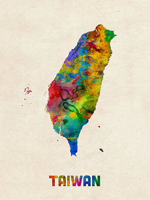 Digital Art - Taiwan Watercolor Map by Michael Tompsett