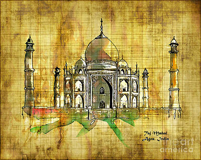 Digital Art - Taj Mahal 2016 by Kathryn Strick