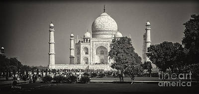 Photograph - Taj Mahal Agra India Bw by Rene Triay Photography