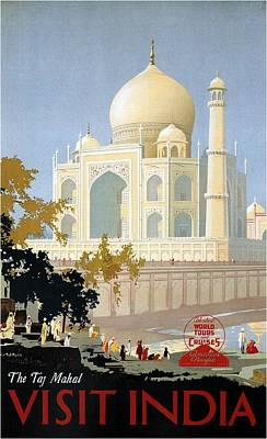 Royalty-Free and Rights-Managed Images - Taj Mahal Agra India - Vintage Travel Advertising Poster by Studio Grafiikka