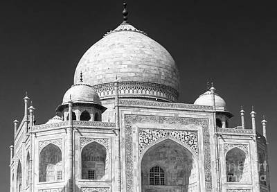 Photograph - Taj Mahal Architecture Closeup Bw by Rene Triay Photography