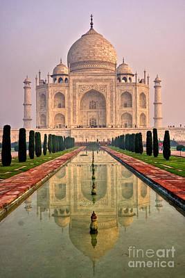 Taj Mahal At Sunrise Art Print by Luciano Mortula