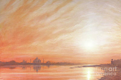 Taj Mahal Painting - Taj Mahal At Sunset  by Derek Hare