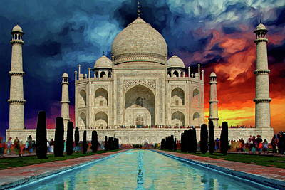 Photograph - Taj Mahal At Sunset by Russ Harris