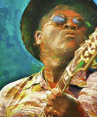 Jazz Mixed Media Royalty Free Images - Taj Mahal, Blues musician Royalty-Free Image by Mal Bray
