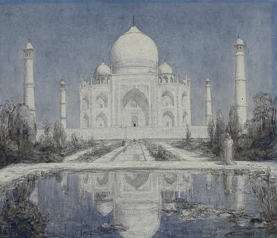 Drawing - Taj Mahal By Moonlight by Marius Bauer