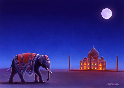 Moonlit Night Painting - Taj Mahal Elephant by Robin Moline