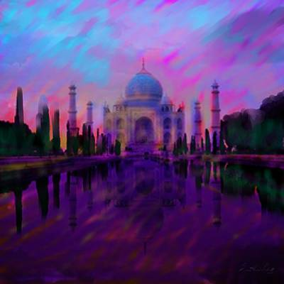 Wonders Of The World Painting - Taj Mahal by S Seema Z