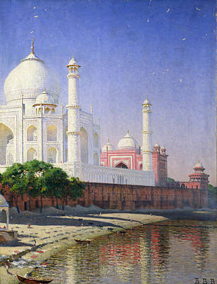 White Marble Painting - Taj Mahal by Vasili Vasilievich Vereshchagin