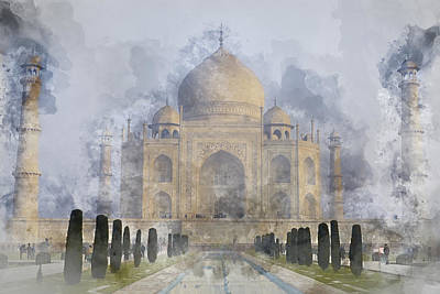 Painting - Taj Mahal Digital Watercolor On Photograph by Brandon Bourdages