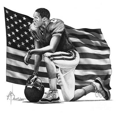 Drawing - Take A Knee For America by Murphy Elliott