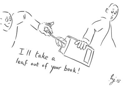 Drawing - Take A Leaf Out Of Your Book Cartoon by Mike Jory