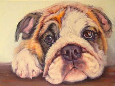Bulldog Oil Painting - Take Me Home.. by Sue Linton