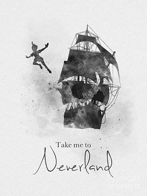 Mixed Media - Take Me To Neverland Black And White by Rebecca Jenkins