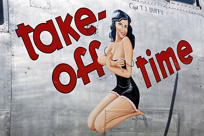 Pin Up Nose Art Photograph - Take-off Time by Jeremy Cozannet