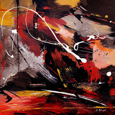 Abstract Red Black Grey Painting - Take To Heart by Ruth Palmer