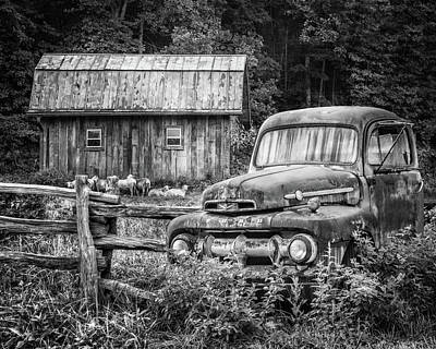 Photograph - Take Us For A Ride Black And White by Debra and Dave Vanderlaan