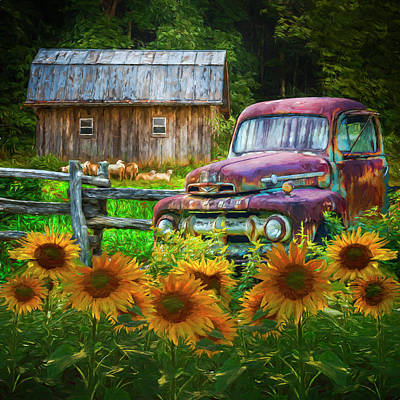 Photograph - Take Us For A Ride In The Sunflower Patch Oil Painting by Debra and Dave Vanderlaan