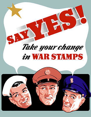 Warishellstore Mixed Media - Take Your Change In War Stamps by War Is Hell Store