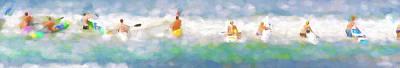 Digital Art - Take Your Marks Sea Kayak Racing Watercolor Panorama by Scott Campbell