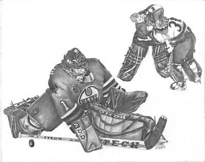 Edmonton Oilers Drawing - Takes Everthing To Win by Dean Herbert