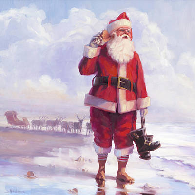 Santa Wall Art - Painting - Taking A Break by Steve Henderson