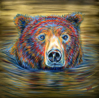Yellowstone Painting - Taking A Dip by Teshia Art