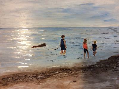 Painting - Taking A Newfoundland For A Walk Along The Beach by Ellen Canfield