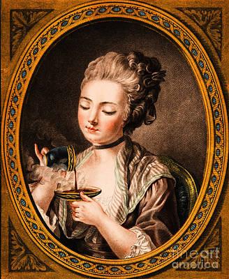 Pastel - Taking Coffee by Louis Marin Bonnet