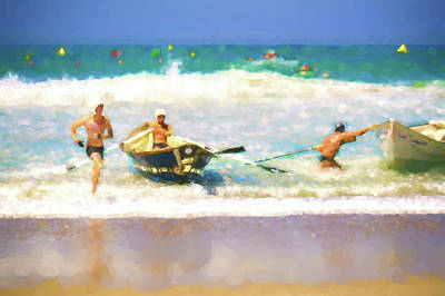 Row Boat Digital Art - Taking The Lead Lifeboat Race Watercolor by Scott Campbell