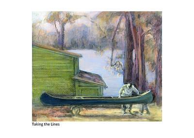 Canoe Mixed Media - Taking The Lines by Betsy Derrick
