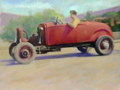 Taking The Roadster For A Spin Art Print