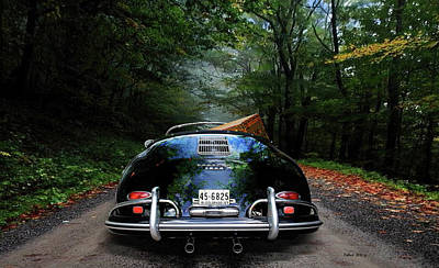 Getaway Mixed Media - 'taking The Scenic Road Way To Get Home.' 1958 Porsche 356a, 1600 Speedster by Thomas Pollart