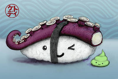 Nigiri Wall Art - Mixed Media - Tako And Wasabi-san by Kato D