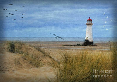 Digital Art - Talacre Lighthouse - Wales by Lianne Schneider