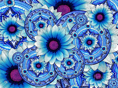 White And Blue Mixed Media - Talavera Alejandra by Christopher Beikmann